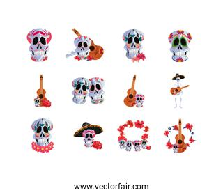 Mexican day of the dead set vector design