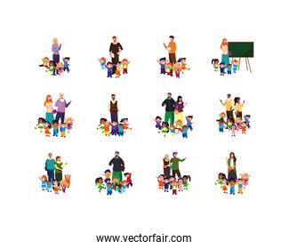Isolated set of boys and girls with teachers vector design