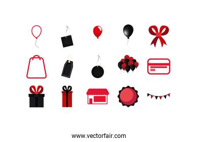 Isolated shopping and sale icon set vector design