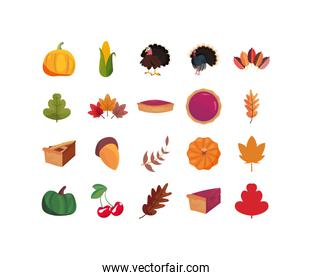 Icon set of happy thanksgiving day vector design