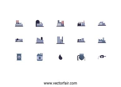 Isolated oil industry icon set vector design