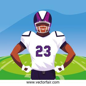 Super bowl player with helmet in front of field vector design