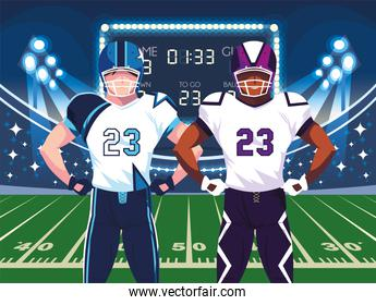 Super bowl players with helmet in front of field vector design