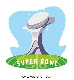 Super bowl trophy over field vector design