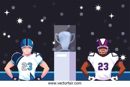 Super bowl players with helmet in front of grandstand vector design