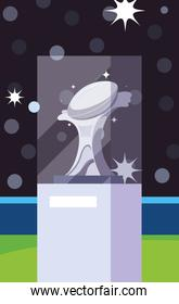 Super bowl trophy in front of grandstand vector design
