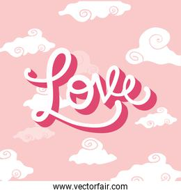 Love clouds over pink background vector design