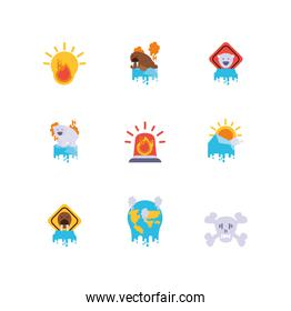Climate change global warning and pollution icon set vector design