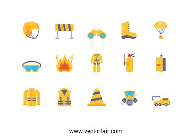 Emergency icon set vector design