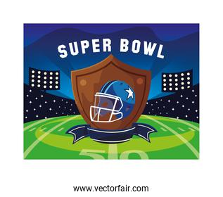 american football helmet in shield with ribbon, label super bowl