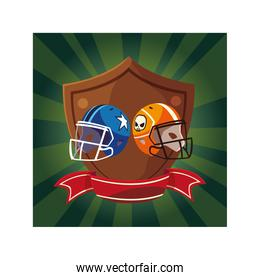 american football helmets in shield with ribbon