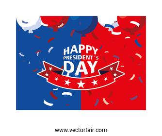 label happy president day, greeting card, United States of America celebration