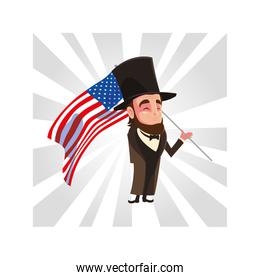 president abraham lincoln with flag usa, president day card