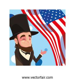president abraham lincoln with flag usa,