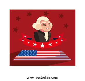 president george washington with flag usa, president day card