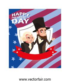 happy president day, cartoon of president George Washington and Abraham Lincoln