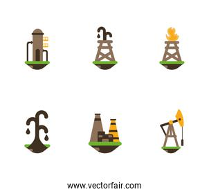 Isolated fracking icon set vector design
