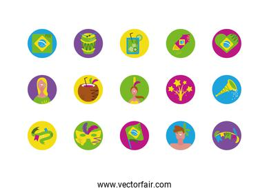 Isolated brazilian carnival icon set vector design