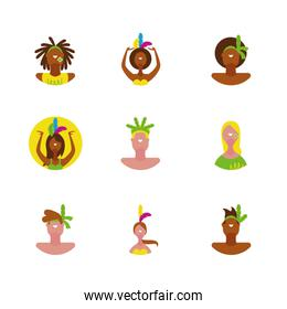 Isolated brazilian carnival people set vector design
