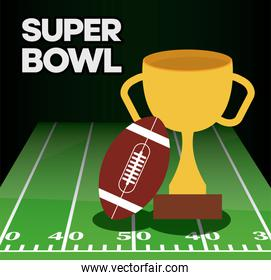 Super bowl ball and trophy over field vector design