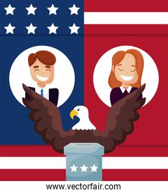 Man woman cartoon and eagle of usa happy presidents day vector design