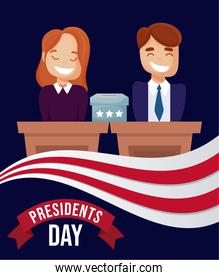 Man and woman cartoon on podium of usa happy presidents day vector design