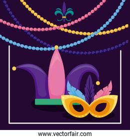 Mardi gras mask and hat with necklaces vector design