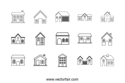 Isolated set of houses with windows and door vector design