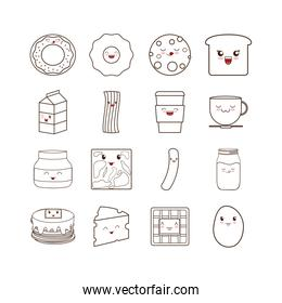 Kawaii cartoons of breakfast food set vector design