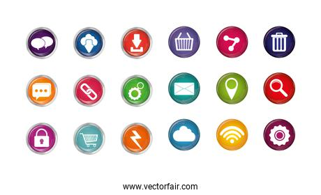 Isolated digital marketing icon set vector design