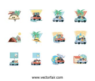 Isolated People and travel cars icon set vector design