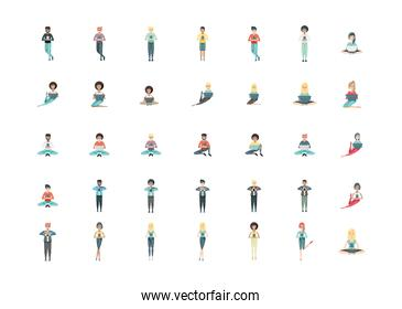 people using technology set vector design