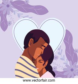 Couple of woman and man hugging vector design