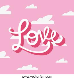 Love text and clouds vector design