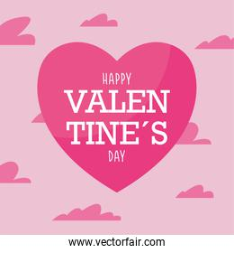 Happy valentines day pink heart and clouds vector design