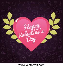 Happy valentines day pink heart with green leaves vector design