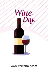 Bottle and cup of wine day vector illustration