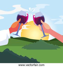 Hands holding wine cups in front of landscape vector design
