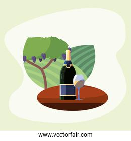Wine bottle and cup in front of grapes tree vector design