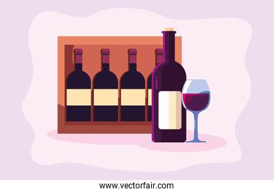 Wine bottle box and cup vector design