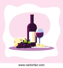 Wine bottle cheese grapes and cup vector design