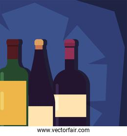 Wine bottles with labels vector design
