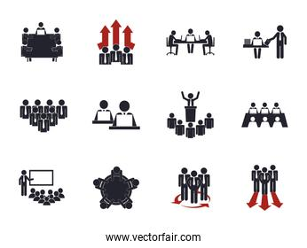 Businesspeople avatars set vector design