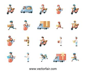 Delivery men set vector design