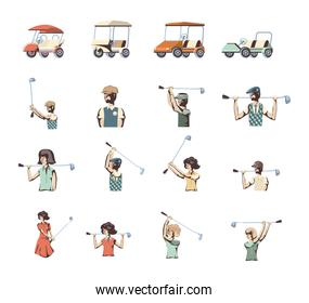 Isolated golf sport icon set vector design