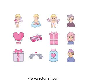 Love and valentines day icon set vector design