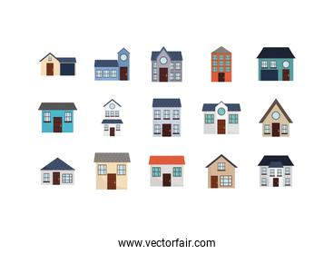 Isolated houses set with window and door vector design