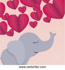Hearts and elephant cartoon vector design