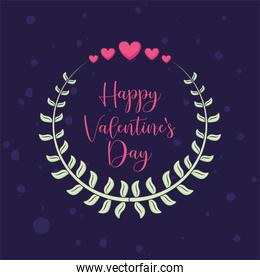 Happy valentines day hearts and leaves wreath vector design