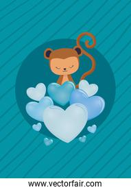 Hearts and monkey cartoon vector design